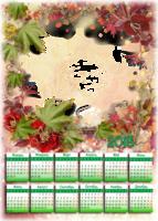 Календарь осенний с листвой